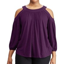$79.5 Lauren Ralph Lauren Cutout-Shoulder Jersey Top Purple L - $52.36