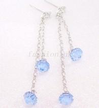 Damen Swarovski Elemente blauer Kristall mit Weißgold vergoldet lang Ohr... - $12.99
