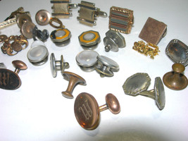 VINTAGE TO VICTORIAN CUFFLINKS PARTS SINGLES PIECES REPAIR LOT - $55.00