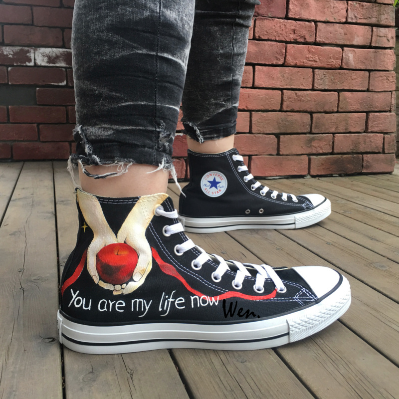 Converse All Star Twilight Feather Design Hand Painted Shoes Women Men's Sneaker