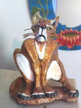 A Cat Sculpture Handmade Signed Damaged heavy Needs TLC - $32.53