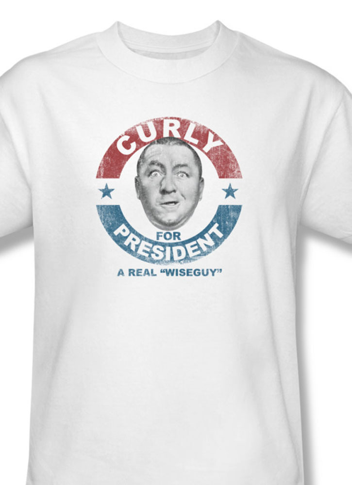 Oges curly for president comedy team wise guy larry for sale online white graphic tee tts116b at