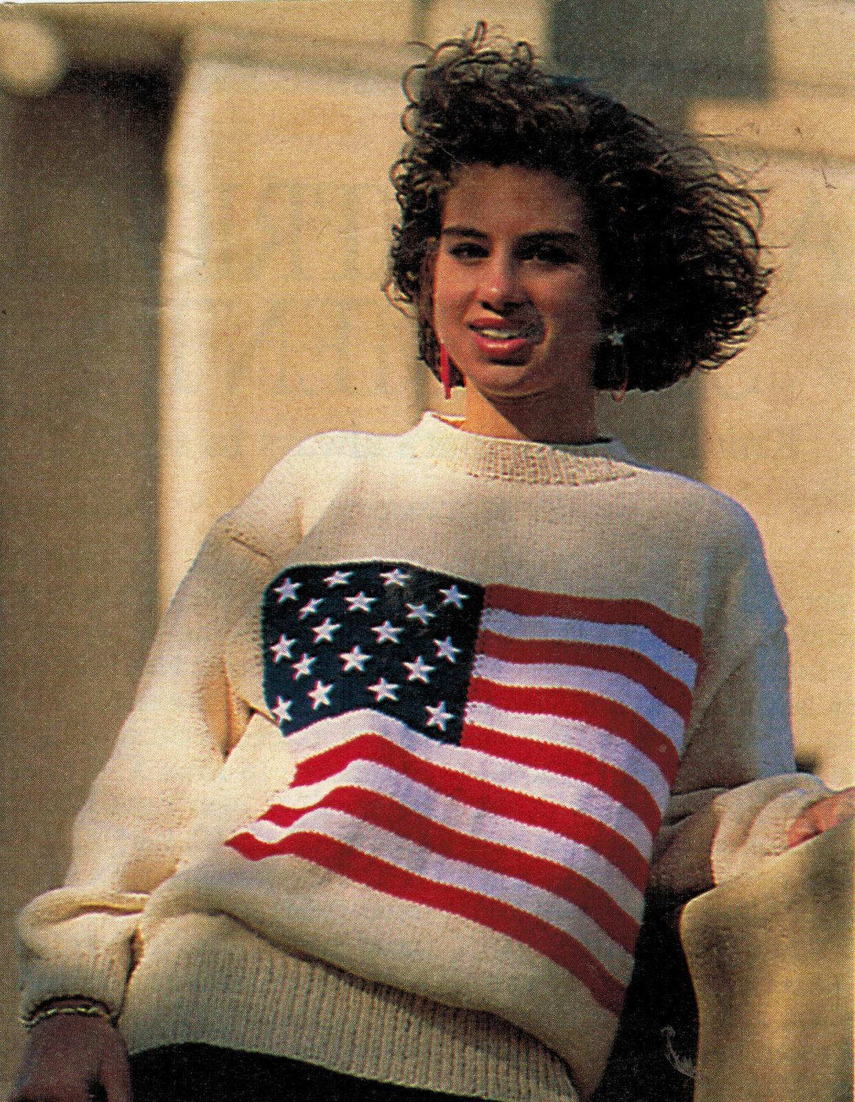 Primary image for Child Misses Patriotic Vote Republican Democrat USA Flag Knit Sweater Pattern