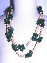 VTG Wood & Green Carved Celluloid Green Leaf Beaded Long Necklace - $39.60