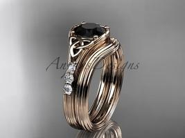 Black Diamond Celtic wedding sets,14k rose gold diamond triquetra knot C... - $1,695.00
