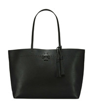 Nwt Tory Burch Mc Graw Leather Tote With Tassel Charm Black Gold $400+ Authentic - $306.00