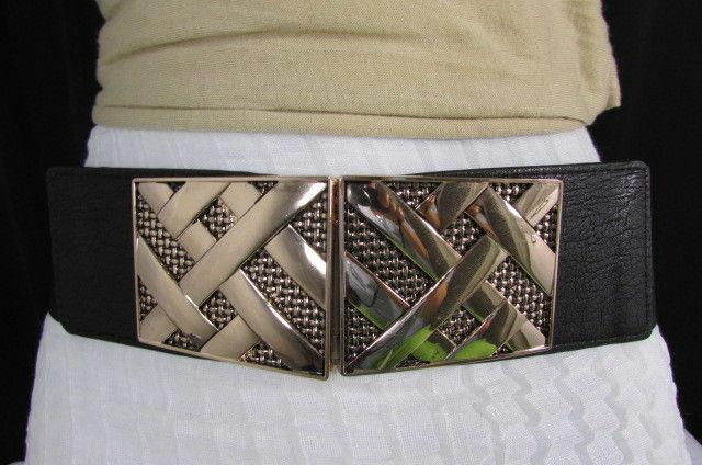 Nero,da Donna Elastico Moda Cintura Vita Metallo Oro Strisce Fibbia Quadrata S M image 8