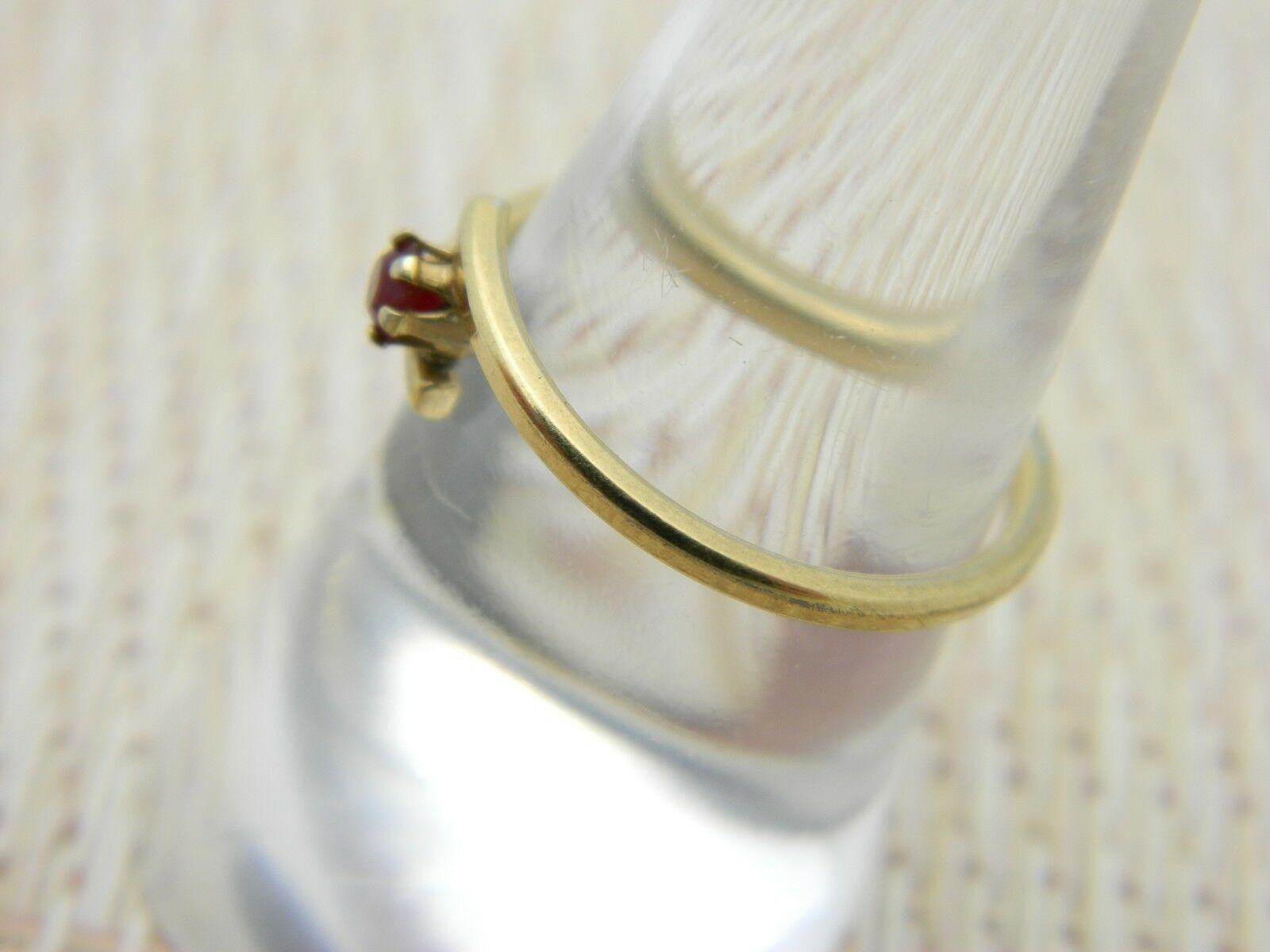 AVON Gold Tone Red Rhinestone Dainty Ring Adjustable Size 7.25 Vintage image 3