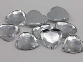 25mm Crystal JG06 Flat Back Heart Acrylic Jewels Pro Grade - 18 Pieces - $5.74