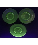 "Green Depression Glass Hazel Atlas Shamrock Clover Lunch Salad Plate 8"" Lot of 3 - $30.40"