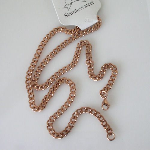 """New Unisex 18k Rose Gold Plated Stainless Steel Curb Link Necklace Chain 20"""""""