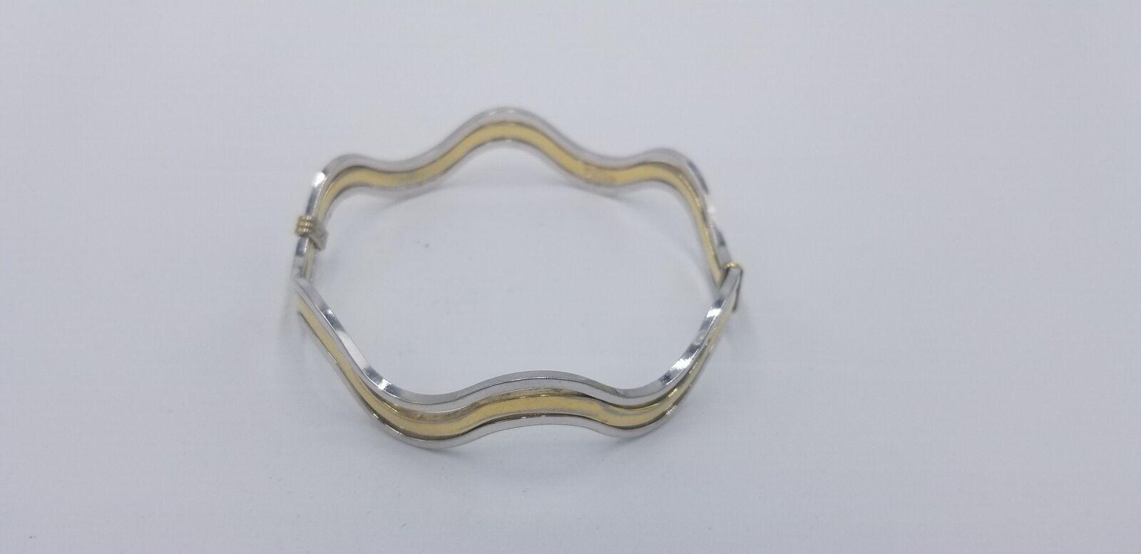 Vintage Signed Avon Silver And Gold Tone Wavy Style No Clasp Bracelet EUC image 4