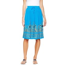 twiggy Fashionable Bollywood Flattering Chic Midi Skirt Turquoise XS NEW... - $18.78