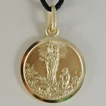SOLID 18K YELLOW GOLD OUR MARY LADY OF THE GUARD 17 MM ROUND MEDAL MADE IN ITALY image 1