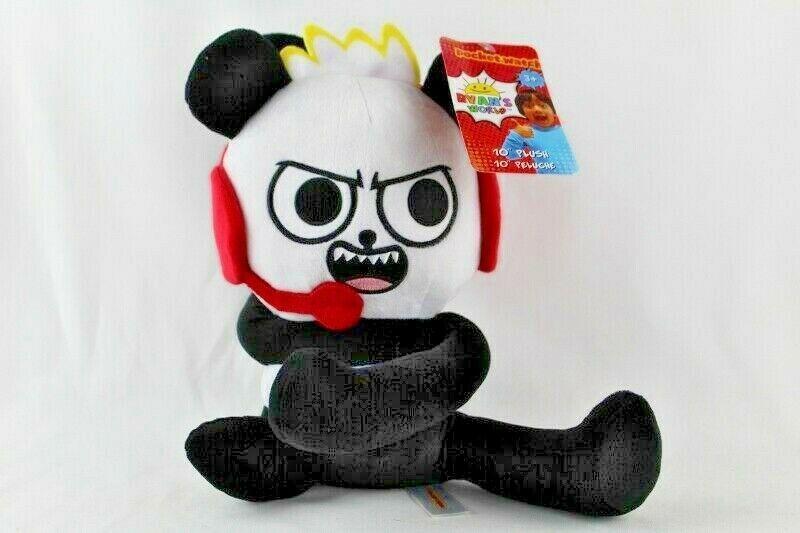 "Ryans World 10"" Plush Panda New With Tags Black White Red Pocket Watch"