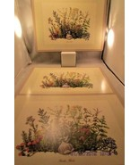 Pimpernel Cork 3 Square Placemats Garden HERBS Place Settings Made in En... - $12.19