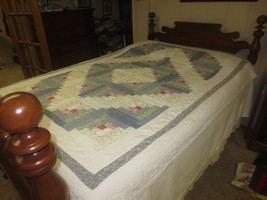 """Hand Quilted LOG CABIN Cotton PATCHWORK QUILT Bed Cover - 61"""" x 80"""" - $19.95"""