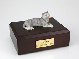 Tabby Gray Cat Figurine Pet Cremation Urn Available in 3 Diff Colors & 4... - $169.99+