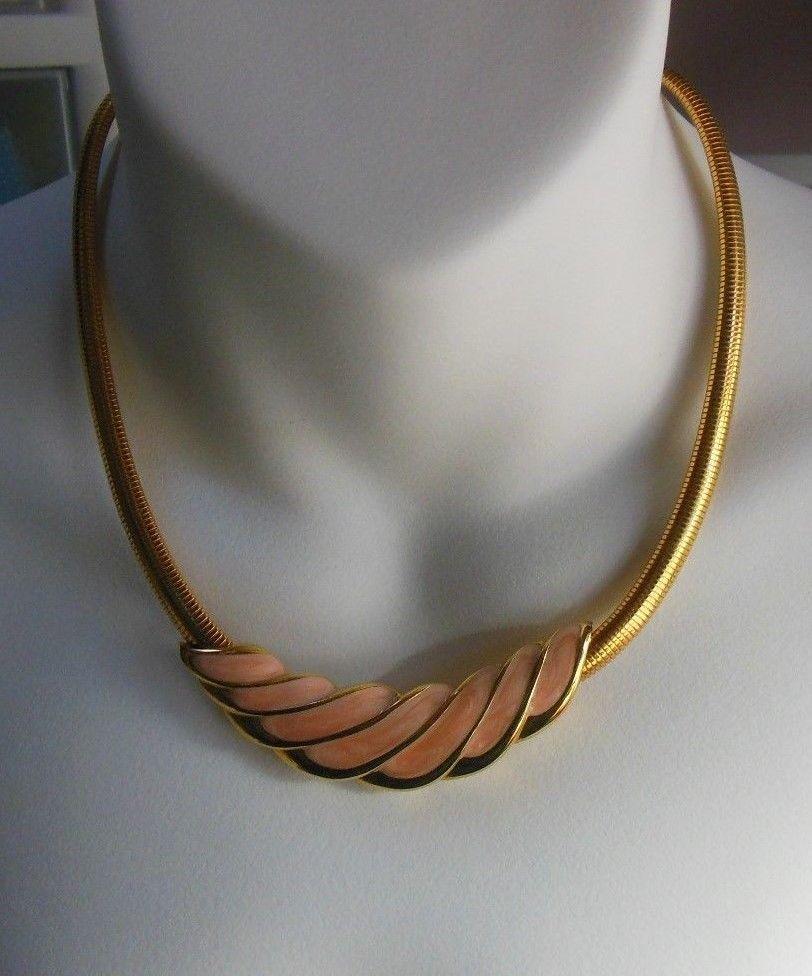 6f9b952575f5f NAPIER Gold tone Pink Enamel Choker Snake and 50 similar items