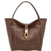 Dooney & Bourke Florentine Charcoal Leather Logo Lock Top Dog Hook Closu... - $479.99