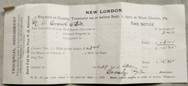 1910 antique NEW LONDON PA TAX PAPER owned M.CROWL signed CROSLEY PYLE - $24.95