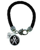 Custom Brain Cancer Awareness Leather Bracelet Jewelry Initial Family Charm - $13.94