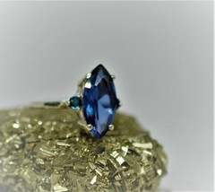 5.65 Ct Marquise Shape Blue Sapphire women's Ring 14k White Gold Over 92... - $75.05