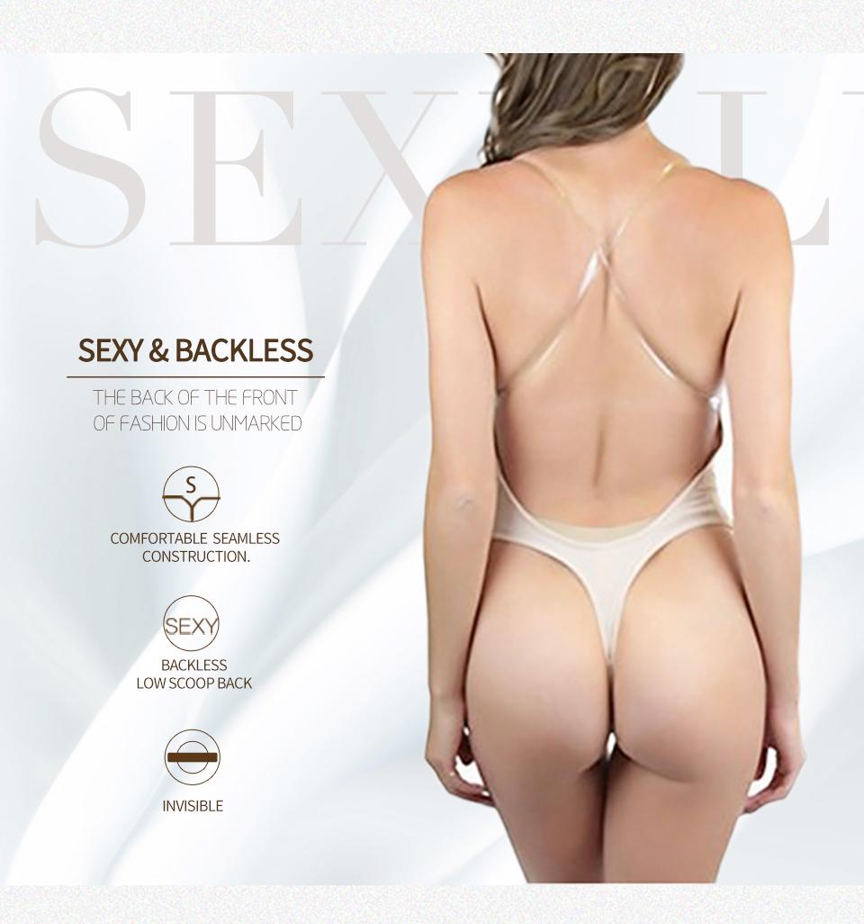 Wechery Vestido Backless Shapewear Deep Plunge Thong Body Shaper Tops Invisible