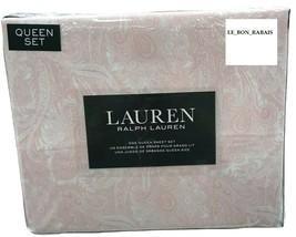 Ralph Lauren 100% Cotton white with Orange paisley Queen Sheet Set - $89.09