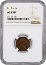 1911-S 1c NGC VG-08 BN - Lincoln Cent - $48.50