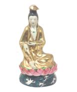 Vintage Chinoiserie Asian Gilt Buddha Porcelain Figure - $795.00