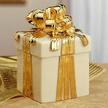 Lenox Keepsake Box w/ Removable Lid & Lavish 24 Karat Gold Bow-Great Gif... - $53.55