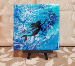 "Acrylic fluid modern abstract painting 6"" x 6"" tile Ocean with Mermaid &... - $25.00"
