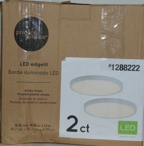 Project Source 1288222 LED Edgelit 2 ct White Finish Frosted Plastic Shade