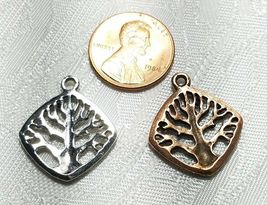 TREE OF LIFE BEADED DIAGONAL SQUARE FINE PEWTER PENDANT CHARM 21x23.5x2.5mm image 3
