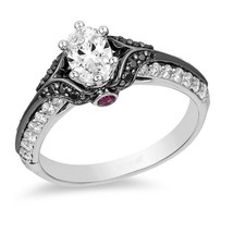Enchanted Disney 1.10Ct Oval White Diamond Engagement Solid 925 Silver R... - $79.99