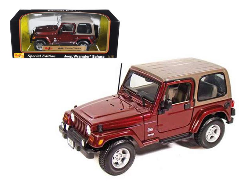 Jeep Wrangler Sahara Maroon 1/18 Diecast Model Car by Maisto