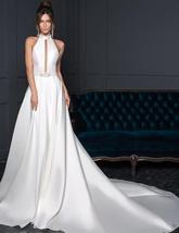 New Arrivals Satin Sheath Wedding Dresses  Beaded Crystal Waist Sexy Backless Ha image 3
