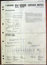 Boss RV-1000 Digital Reverb Unit Original Service Manual, Schematics Boo... - $39.59