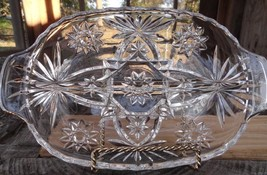 Early American Prescut glass RELISH Dish divided handles Star of David 1... - $9.90
