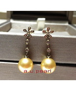 Top real 18K diamond GOLD 11-12MM SOUTH SEA round golden PEARL Dangle EA... - $677.95