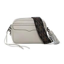 Rebecca Minkoff Beige Putty Leather Bryn Camera Bag Black Guitar Strap NWT - $162.86