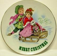 Lefton Kids Skating Christmas Collector Plate 8102, Merry Xmas Porcelain - $14.85