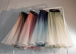 Women Frozen Blue Tulle Skirt Outfit Multi-Color Plus Size Wedding Party Skirt image 2
