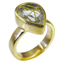 charming Rutile Quartz CZ Gold Plated Multi Ring genuine supplies US gift - $9.99