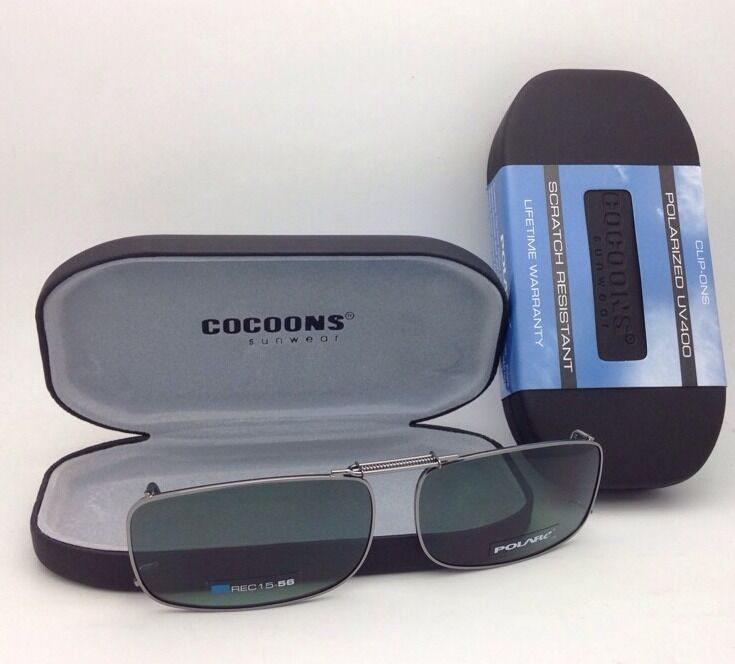 COCOONS Grey Polarized Sunglasses/Eyeglasses Over Rx Clip-on REC 15-58 Gunmetal
