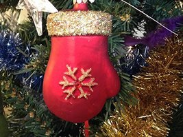 Red Mitten with Gold Sparkles Blown Glass Ornament