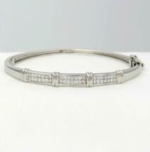 14k WHITE GOLD 2.00ct DIAMOND INVISIBLE SET HARD HINGE BANGLE BRACELET 6... - $1,823.04