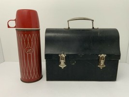 Vintage Metal Lunch Box Icy Hot Thermos Pint 22C Working Man Original USA - $35.59