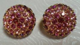 Vintage Joan Rivers Gold-tone Pink/Purple Pave Rhinestone Clip-on Earrings - $65.00